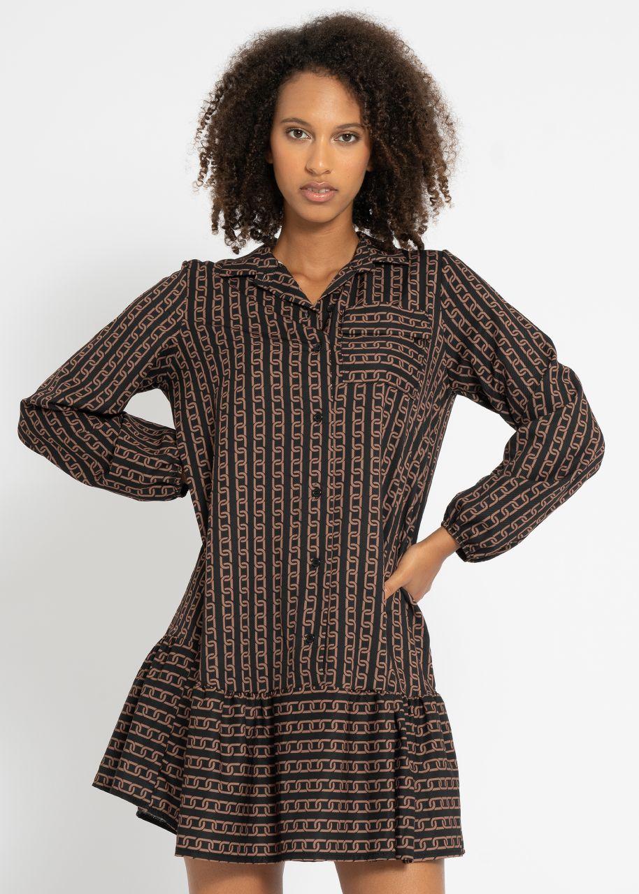 Hängerchenkleid mit Ketten-Print, schwarz/cognac