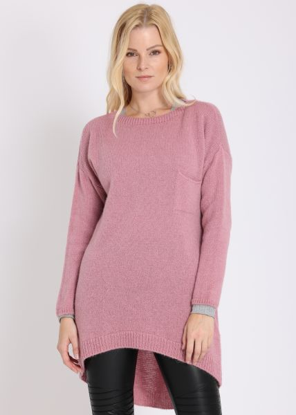 Langer Pullover mit Brusttasche, rosa