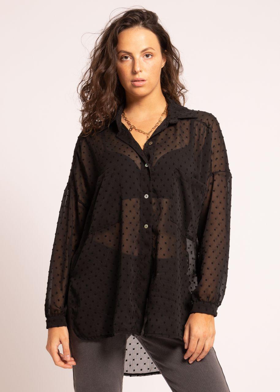 Oversize Plumetis Bluse, schwarz