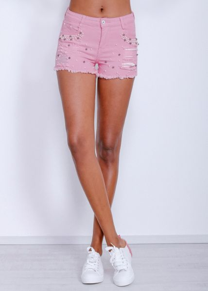 Denim-Shorts mit Perlen, rosa