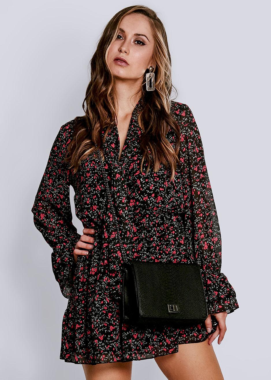Feminines Kleid mit Blumen-Print, schwarz