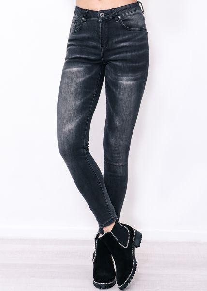 Midwaist Jeans, grau