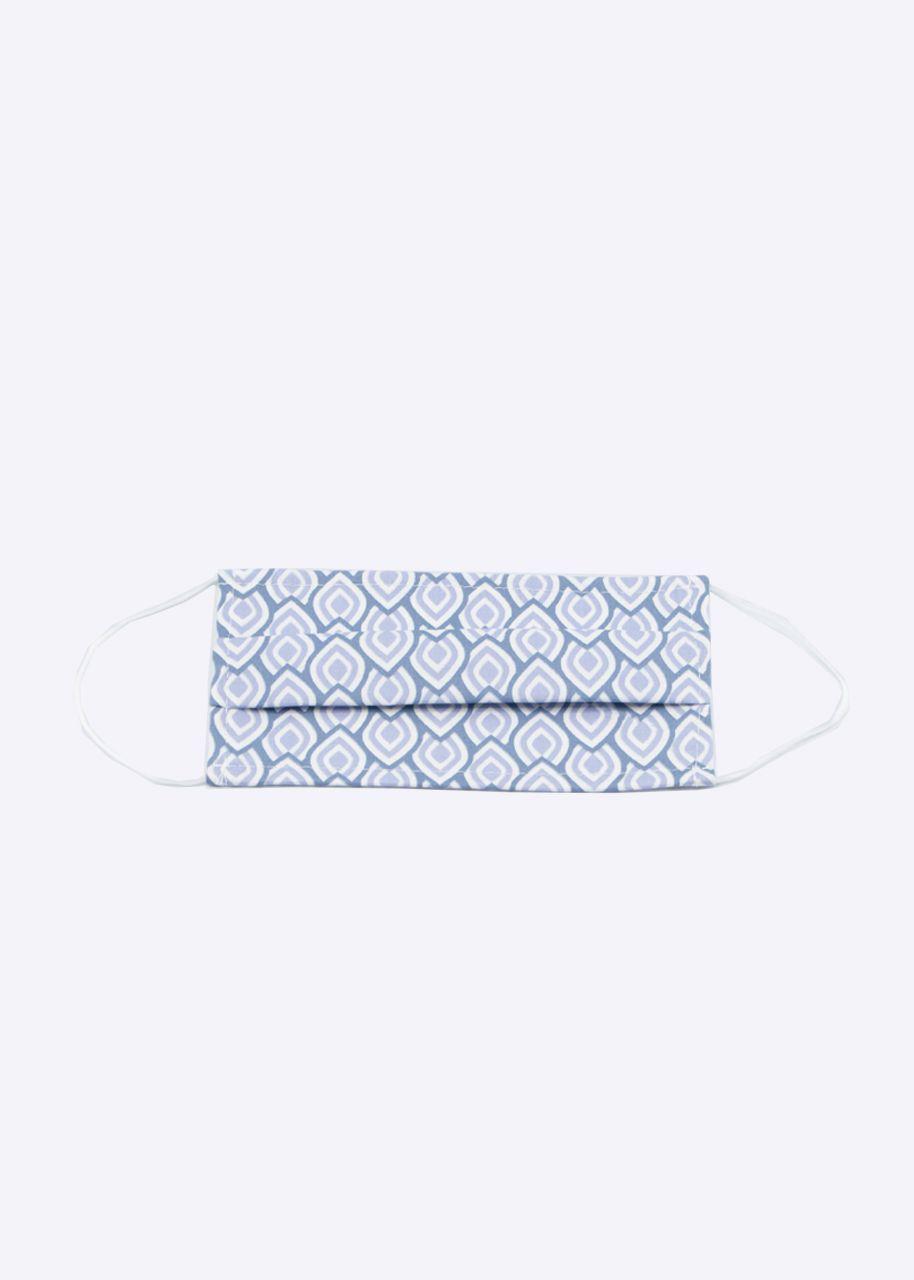 Stoffmaske mit Print, hellblau/flieder