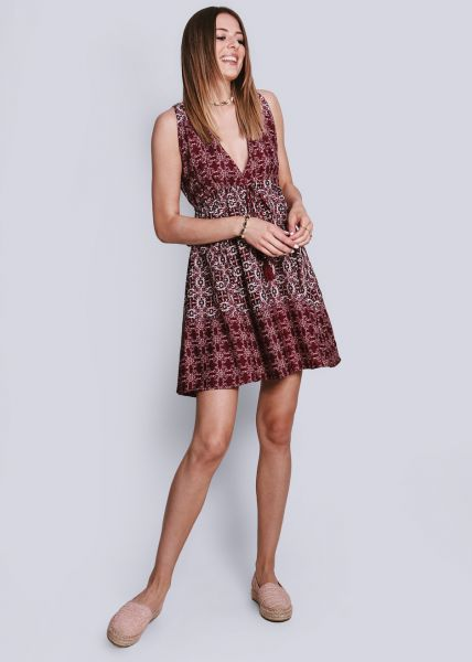 Kleid mit tiefem V-Ausschnitt, weinrot