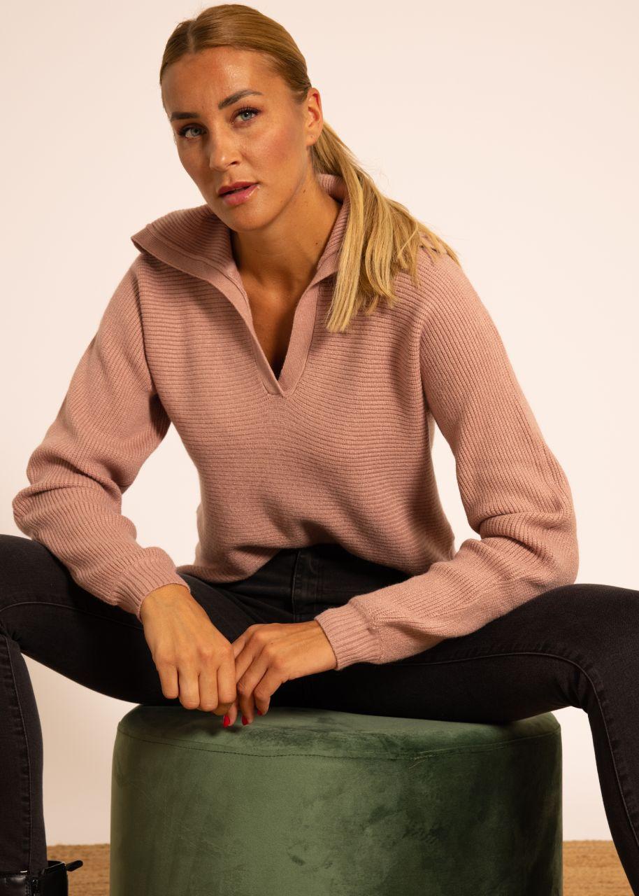 Pullover mit Kragen, rosa