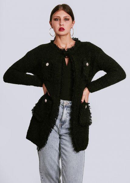 Langer Strick-Cardigan mit aufgesetzten Taschen, schwarz