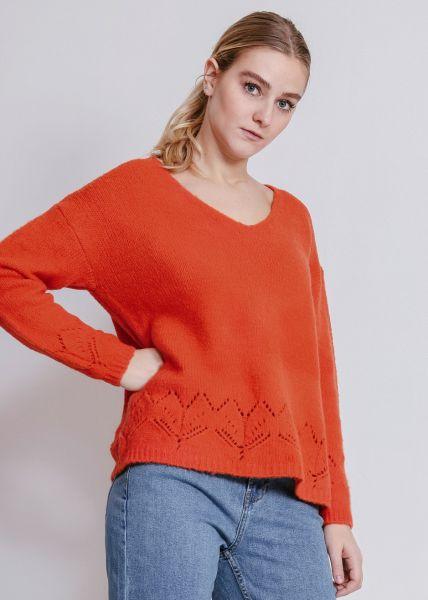 Softer Pullover mit V-Ausschnitt, orangerot