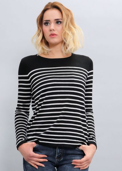 Streifen-Pullover, schwarz