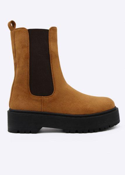 Combat-Boots, cognac