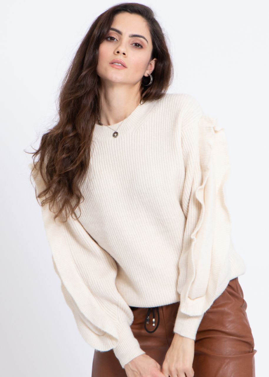 Pullover mit Volantsärmel, offwhite