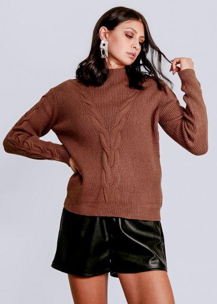 Pullover mit Zopfmuster, cognac