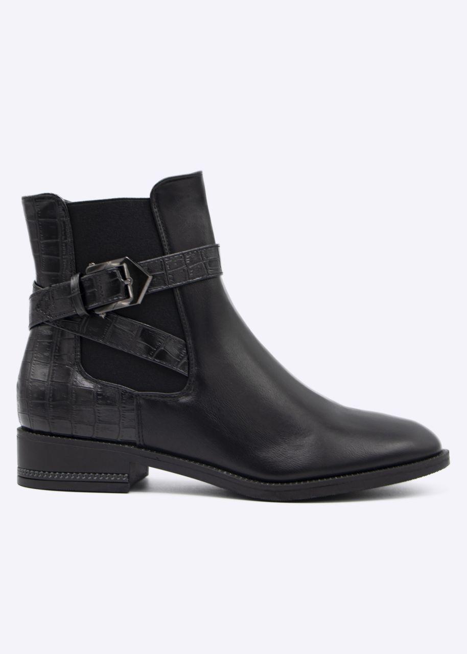 Chelsea-Boots mit Kroko-Ferse, schwarz