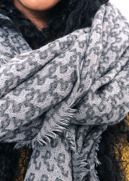 Hauchfeiner Schal mit Muster, hellgrau