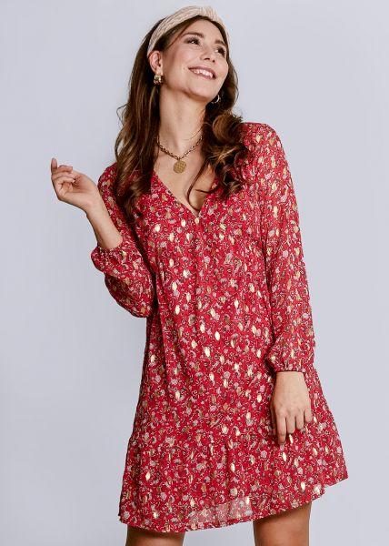 Kleid mit Blumen-Print und gold Druck, rot