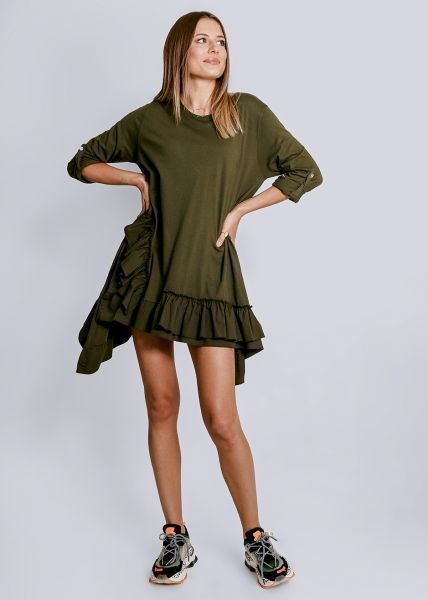 Asymmetrisches Kleid mit Rüschen, khaki