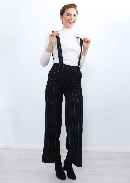 Träger-Hose mit Nadelstreifen, schwarz