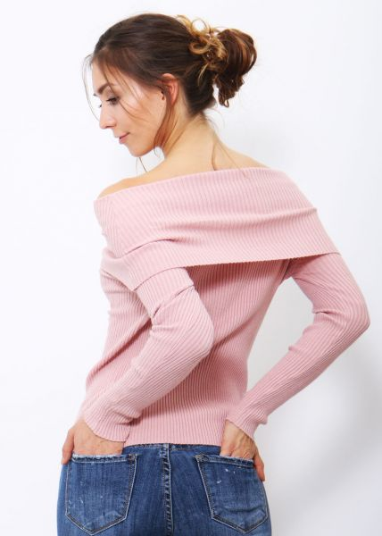 Offshoulders Pullover, rosa