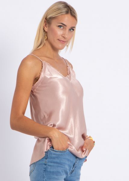 Lingerie-Top mit Fransen, rosa