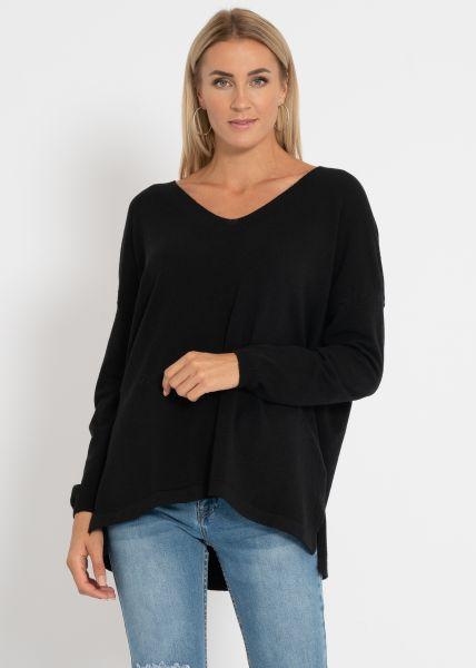 Oversize Pullover mit V-Ausschnitt, schwarz