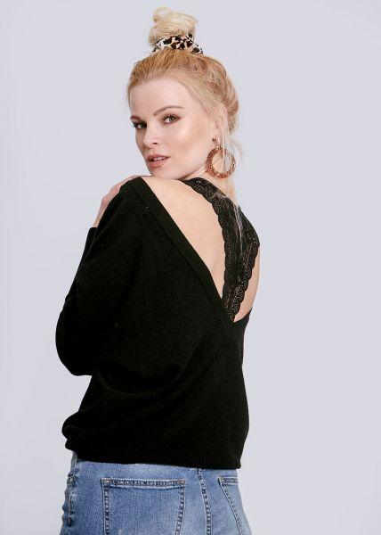 Pullover mit tiefem Rückenausschnitt, schwarz