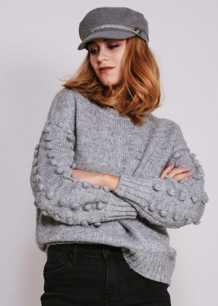 Pullover mit kleinen Bommeln, grau