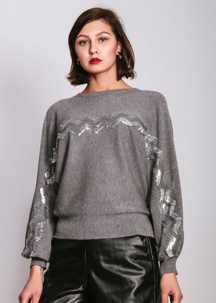 Pullover mit Zick-Zick Muster, grau
