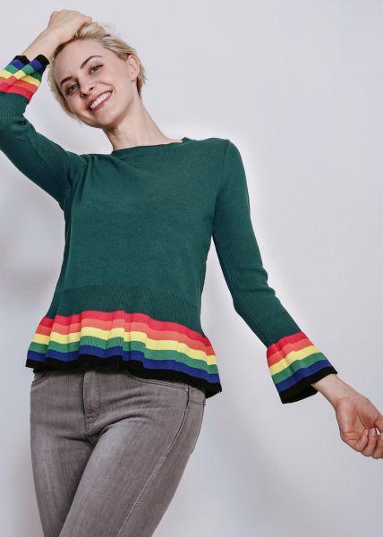 Pullover mit gestreiftem Volant, grün
