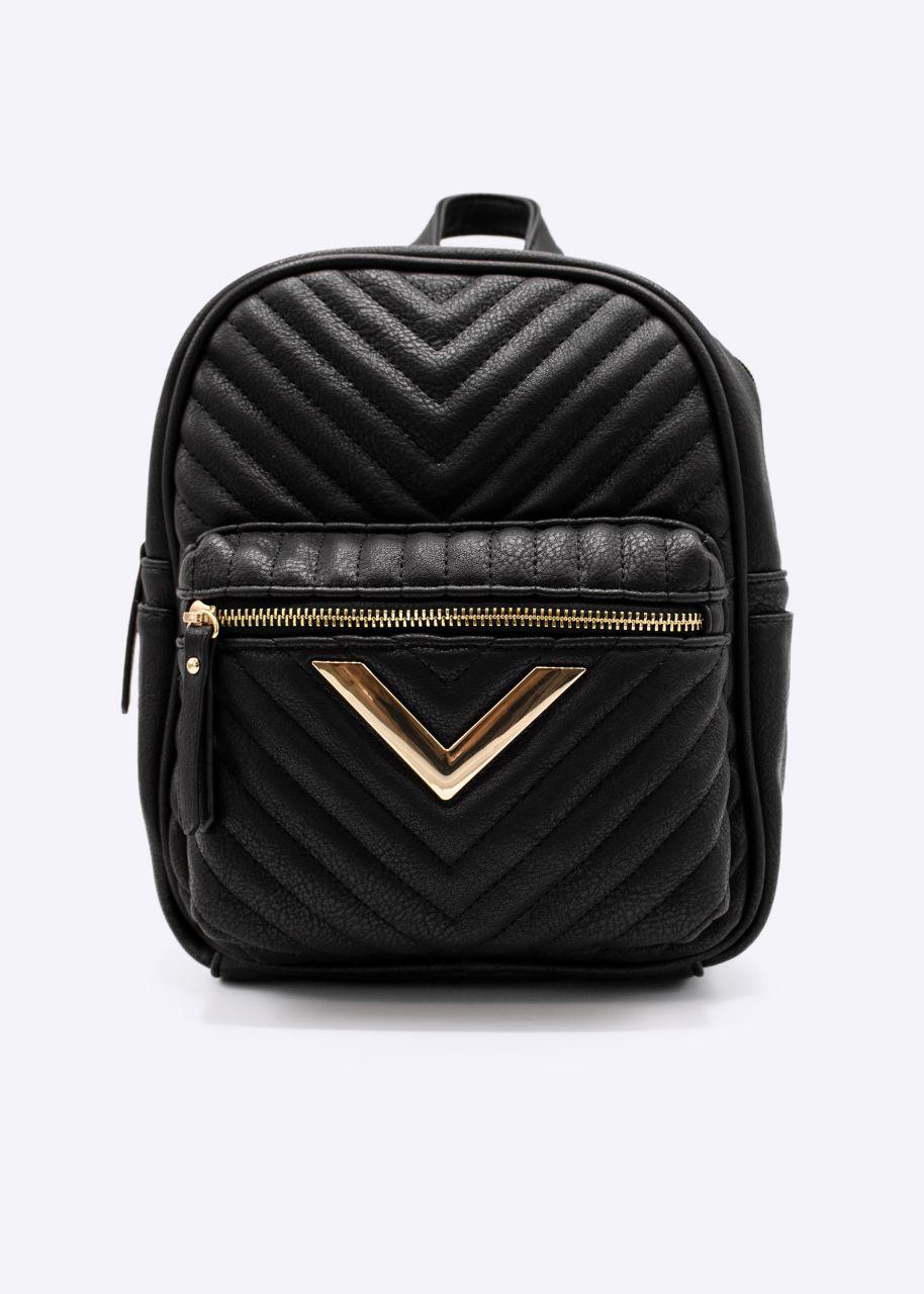 Mini-Rucksack mit gold Detail, schwarz
