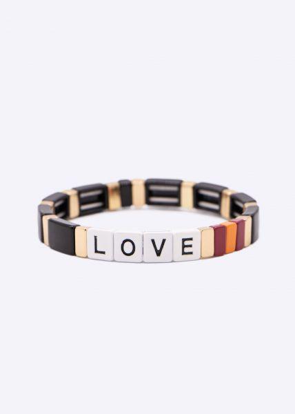 Buntes LOVE Armband, schwarz