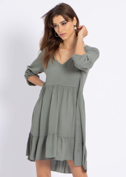 Hängerchenkleid mit tiefem Ausschnitt, khaki