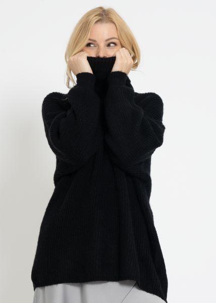 Oversize Rollkragenpullover, schwarz