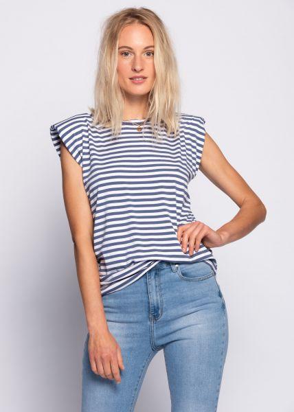 Gestreiftes T-Shirt mit Schulterpolster, jeansblau