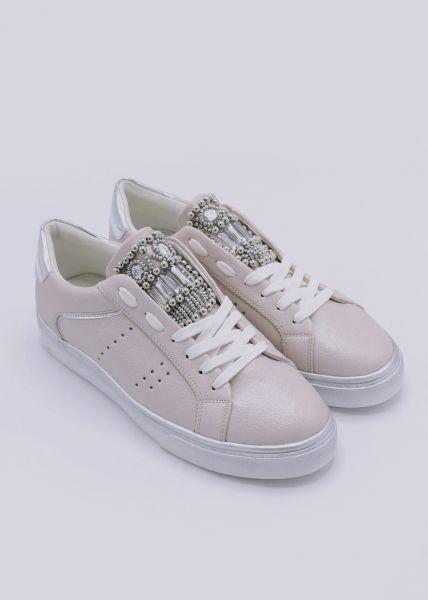 Plateau-Sneaker mit Perlen, beige