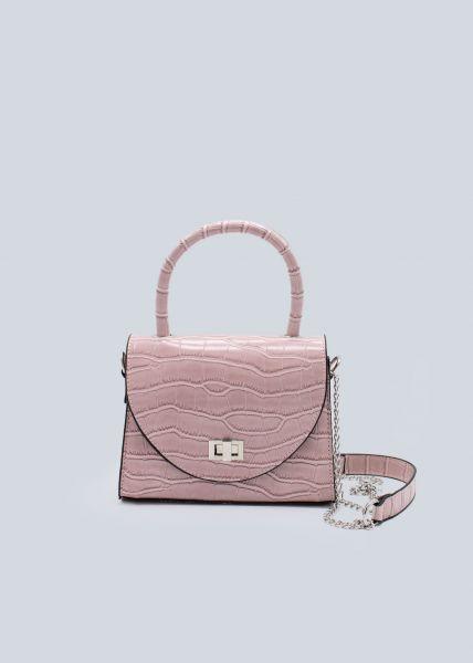 Kroko-Bag mit Kettenhenkel, rosa