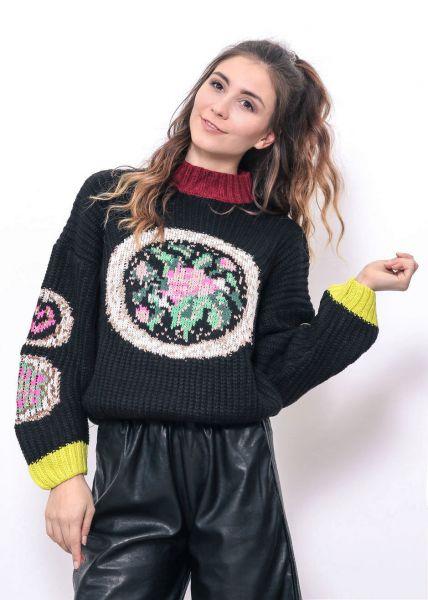 Grobstrick-Pullover, schwarz