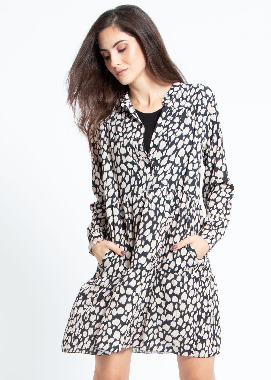 Hängerchenkleid mit Print, schwarz/beige