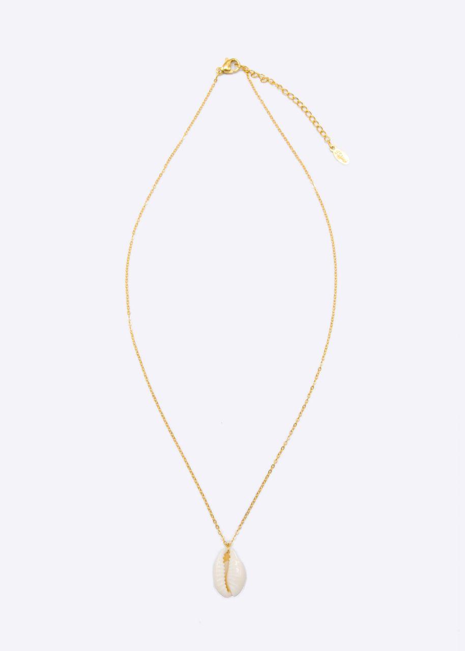Halskette mit Muschelanhänger, gold