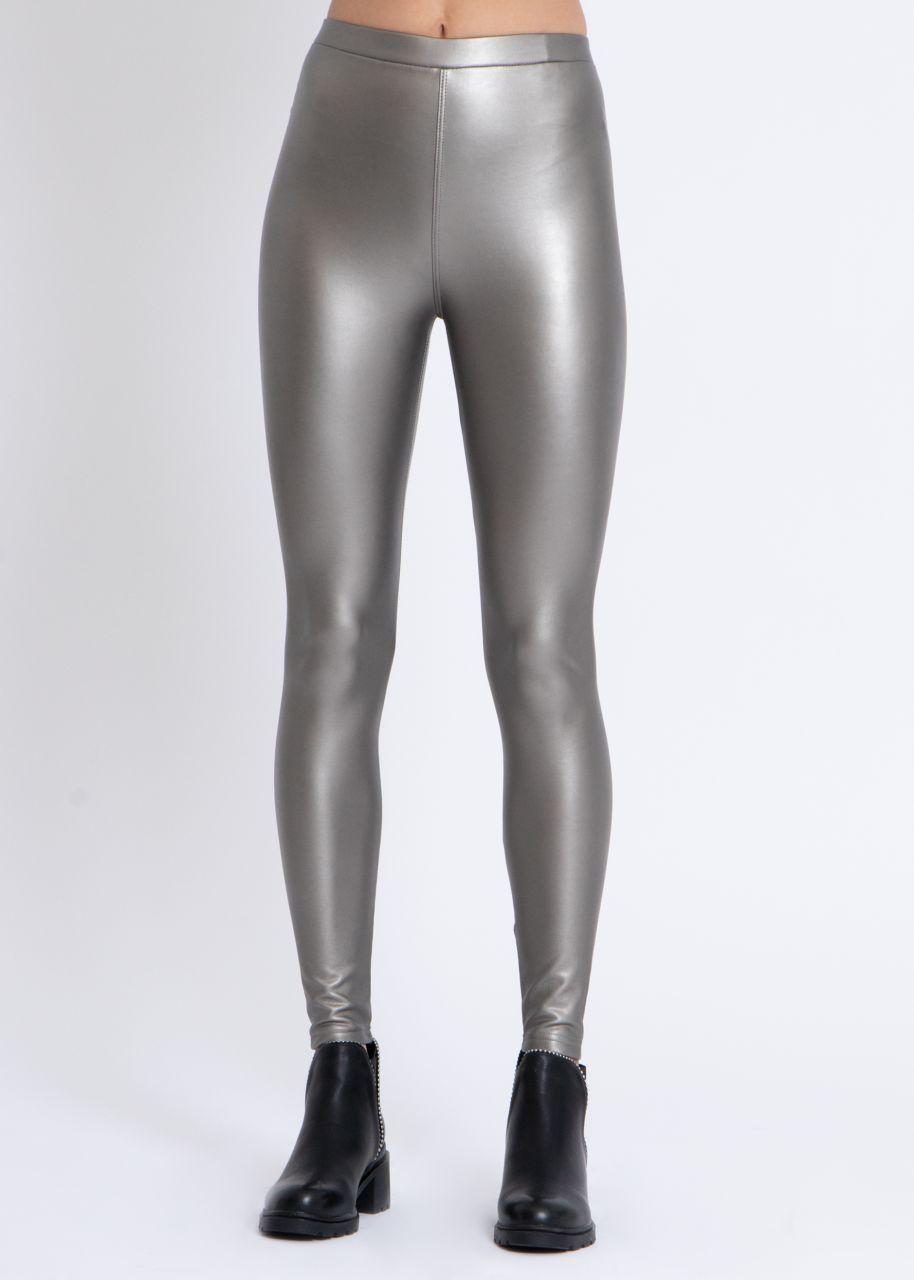 Metallic Lederleggings, silber