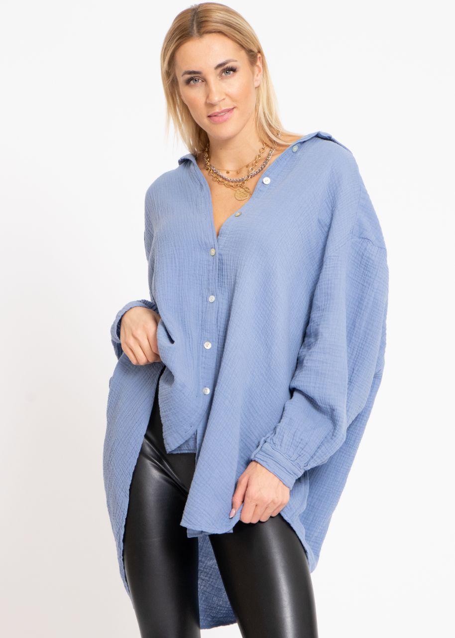 Ultra oversize Blusenhemd, blau