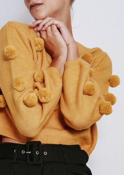 Crop-Pullover mit Pompoms, gelb