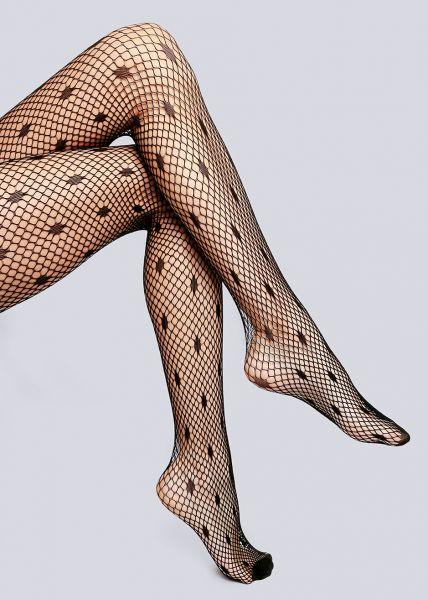 Netz-Strumpfhose mit Punkten, schwarz