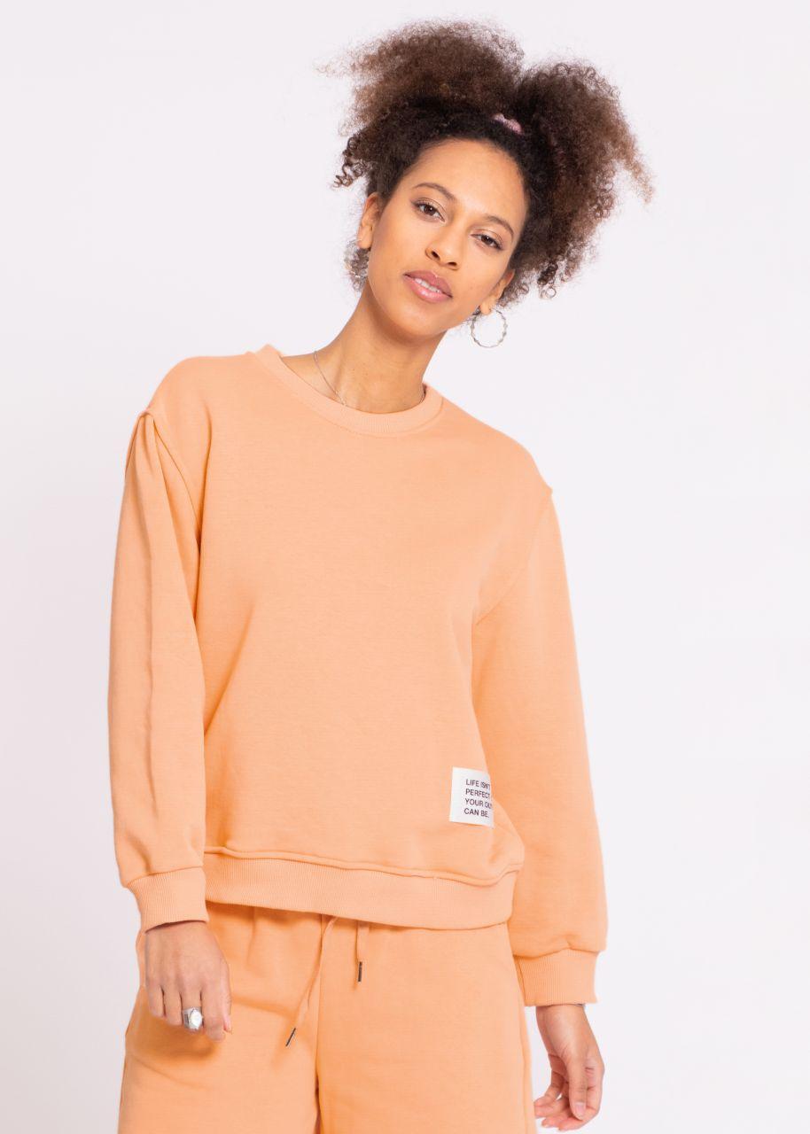 Sweatshirt mit Patch, apricot