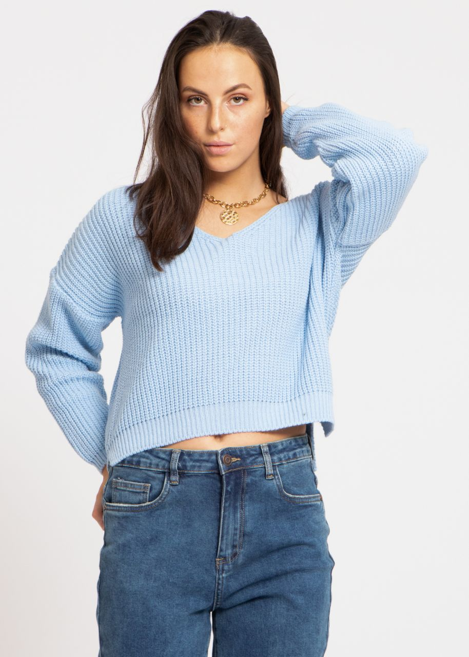 Rippen-Pullover mit V-Ausschnitt, hellblau