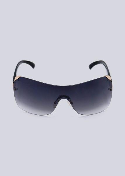 Rahmenlose Sonnenbrille mit gold Detail, schwarz