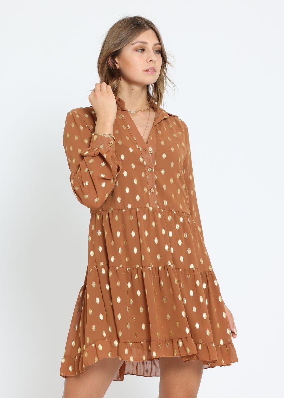 Hängerchenkleid mit gold Tupfen, camel