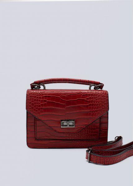 Überschlagtasche in Kroko-Optik, rot