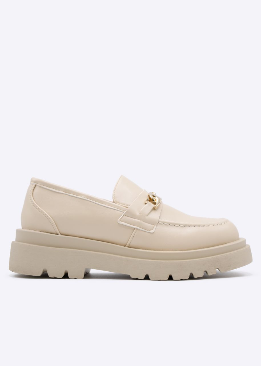 Chunky Loafers mit Plateau, beige