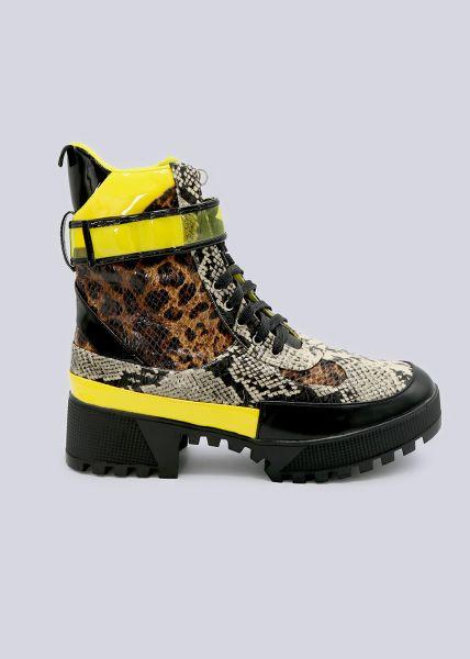 Halbhohe Schnür-Boots mit Animal-Print, schwarz