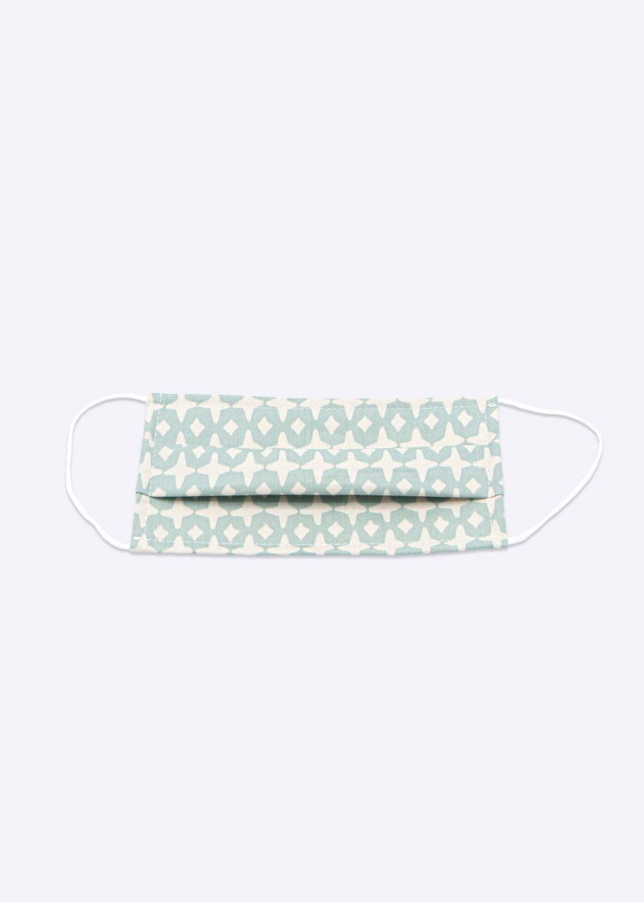 Stoffmaske mit grünem Print, beige