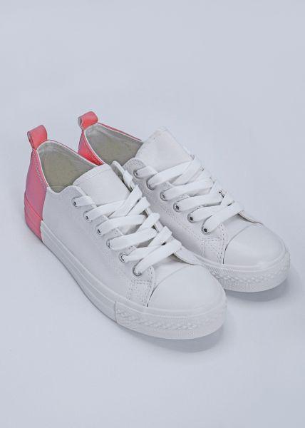 Sneaker mit rosa Ferse, weiß
